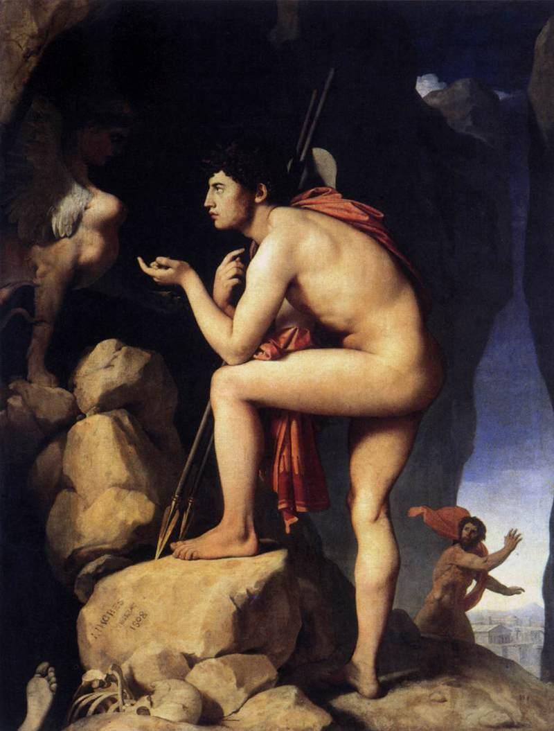 אדיפוס והספינקס. ציור מאת אנגר (Ingres). מקור ציור: ויקיפדיה.