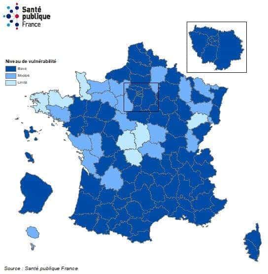 מפת הקורונה בצרפת מהתאריך 13.10.2020. מקור: משרד הבריאות הצרפתי