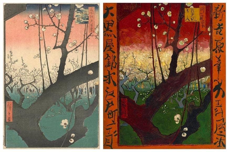 """משמאל: """"פריחת גני שיזיף בקאמידו"""" של Utagawa Hiroshige; מימין, """"פריחת עץ השזיף"""" של ואן גוך. מקור תמונה: ויקיפדיה."""