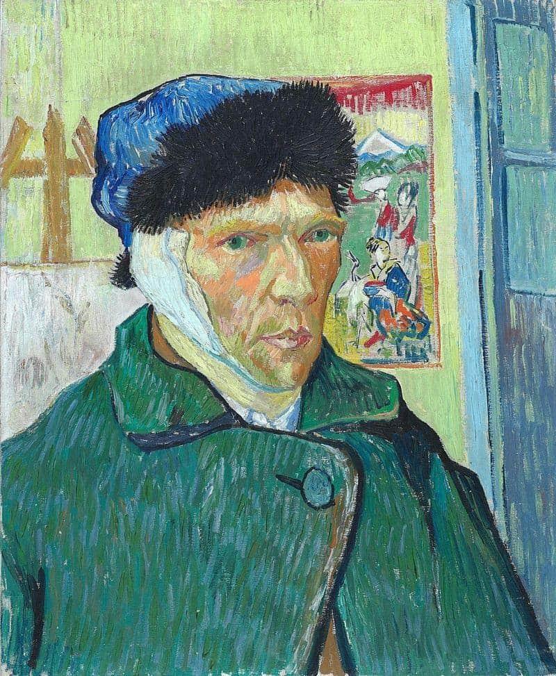 פורטרט עצמי עם אוזן חבושה מאת ואן גוך. מקור תמונה: ויקיפדיה.