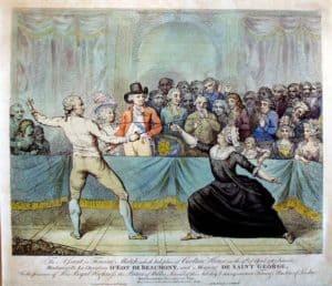 שבלייה ד'און נלחם בתור אישה בדו קרב באנגליה. מקור תמונה: ויקיפדיה.