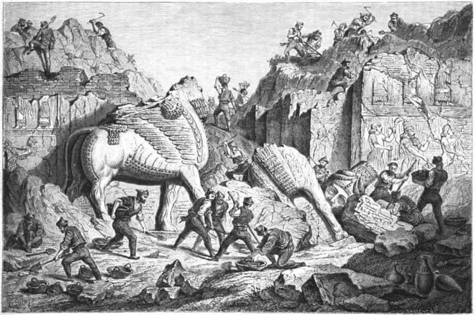 אנדרטת נינווה. ציור מאת אז'ן פלאנדרן. מקור ציור: ויקיפדיה.