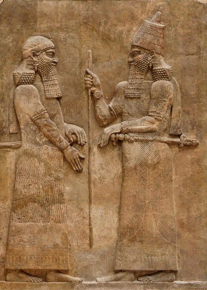 תבליטים מארמון סרגון בדור שרכין. מקור צילום: ויקיפדיה.