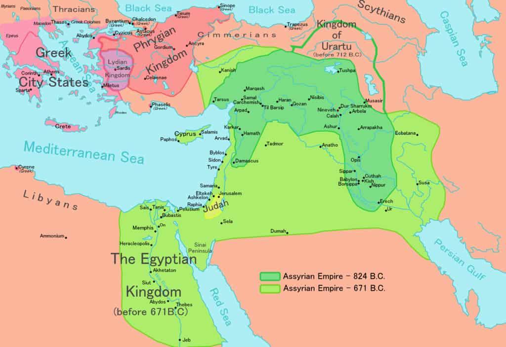 מפת האימפריה הניאו אשורית בשנת 824 לפני הספירה. בירוק בהיר ניתן לראות את האימפריה בשיאה (שנת 671 לפני הספירה)