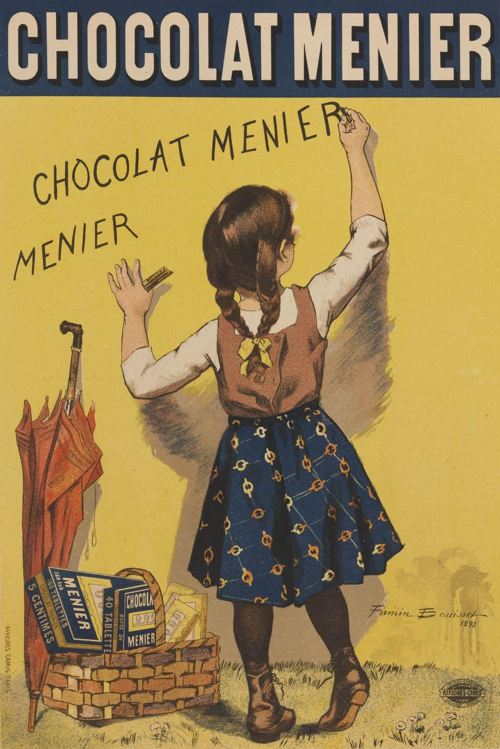פוסטר פרסומי לשוקולד מנייה משנת 1893. מקור תמונה: ויקיפדיה.
