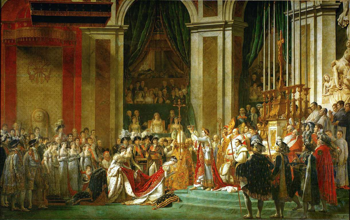 נפוליאון מכתיר את ז'וזפין לקיסרית בשנת 1804. מקור תמונה: ויקיפדיה.
