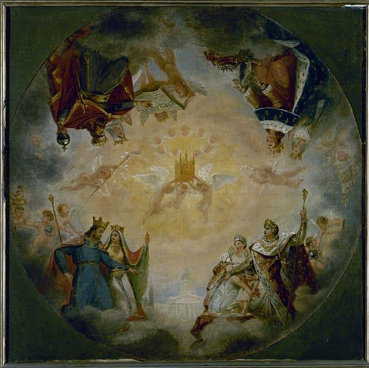 הכיפה שצייר גרו בה ניתן לראות את נפוליון וקלוביס יחד עם סנט ז'נבייב. מקור תמונה: ויקיפדיה.