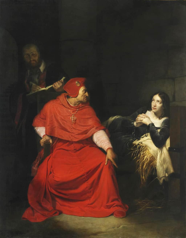 ז'אן ד'ארק נחקרת על ידי הקרדינל של וינצ'סטר. ציור משנת 1824 של היפוליט דה לה רוש. מקור תמונה: ויקיפדיה.