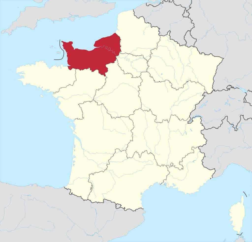מיקומה של נורמנדי בתוך צרפת. מקור מפה: ויקיפדיה.