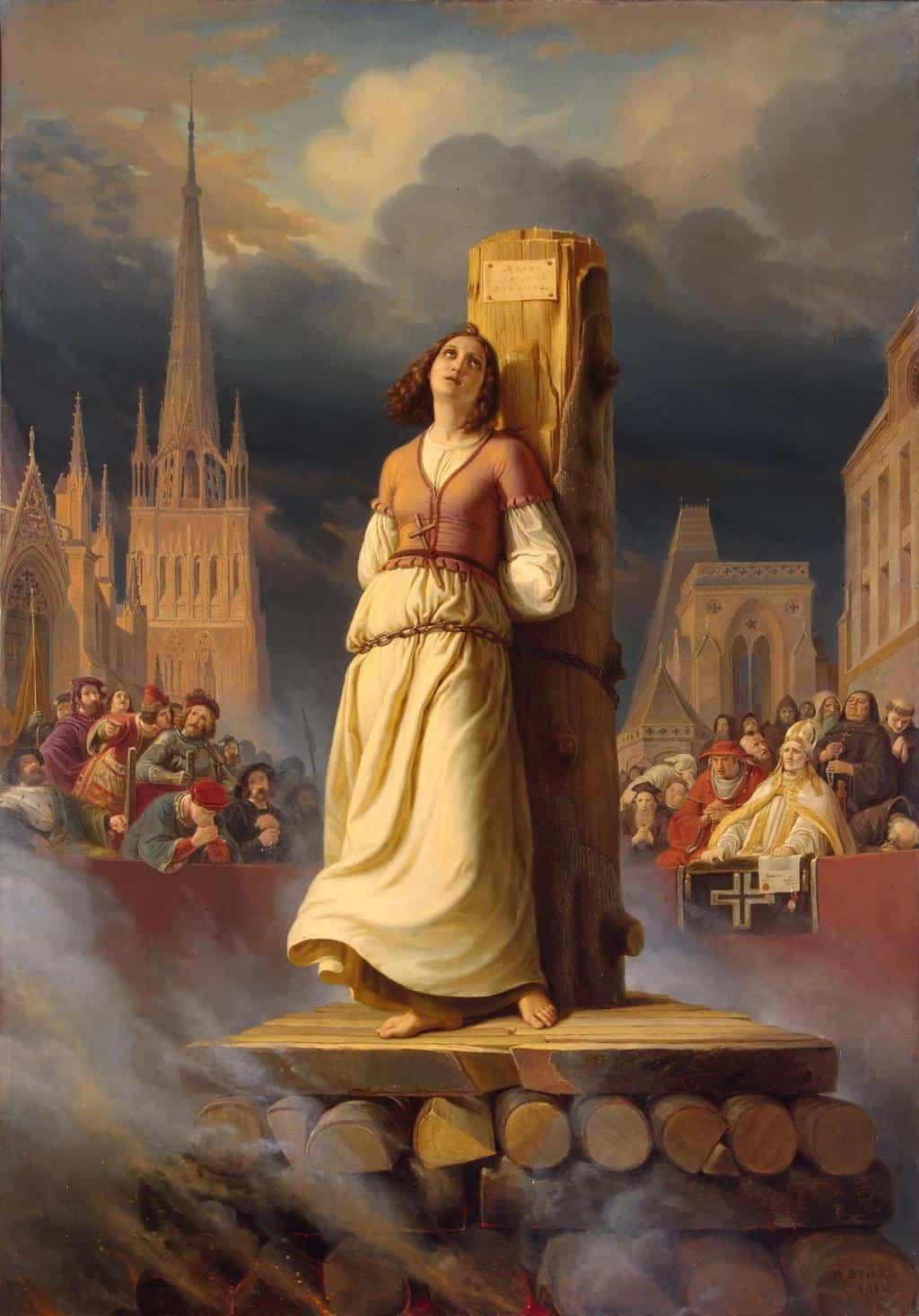 הוצאתה להורג של ז'אן דארק. ציור של הרמן שטילקה משנת 1843. מקור ציור: ויקיפדיה.