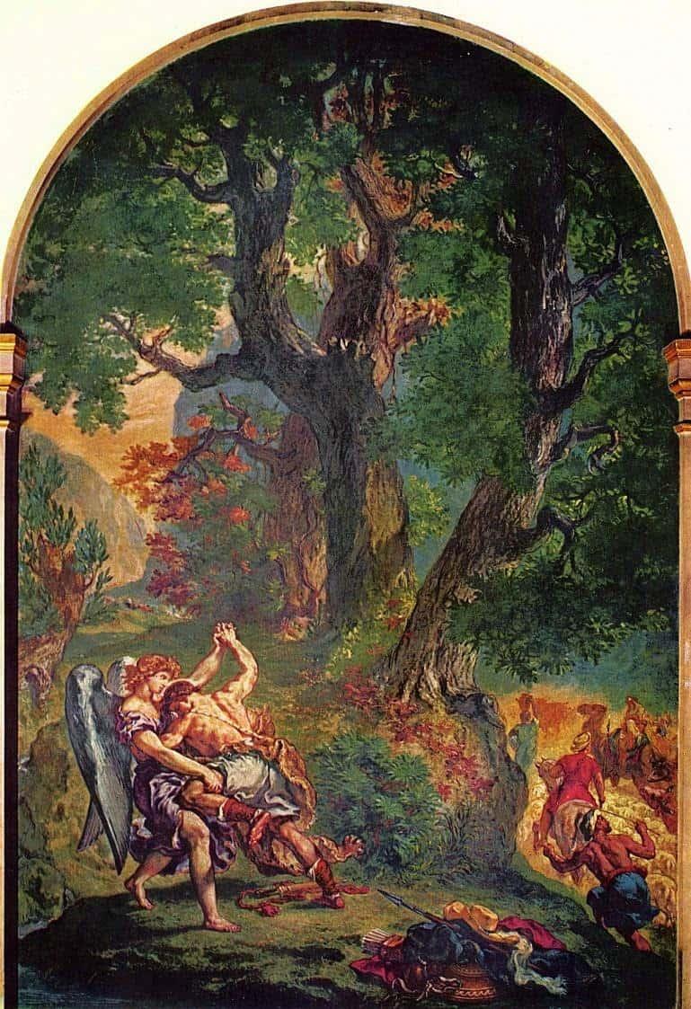 יעקוב נלחם עם המלאך ציור מאת דלקרואה. מקור צילום: ויקיפדיה.
