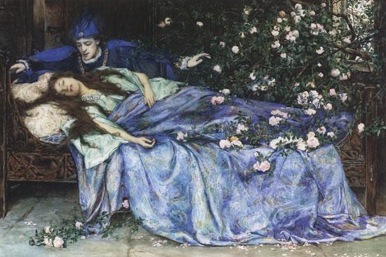 רגע הנשיקה בסיפור היפהפייה הנרדמת. צייר Henry Meynell Rheam. מקור ציור: ויקיפדיה