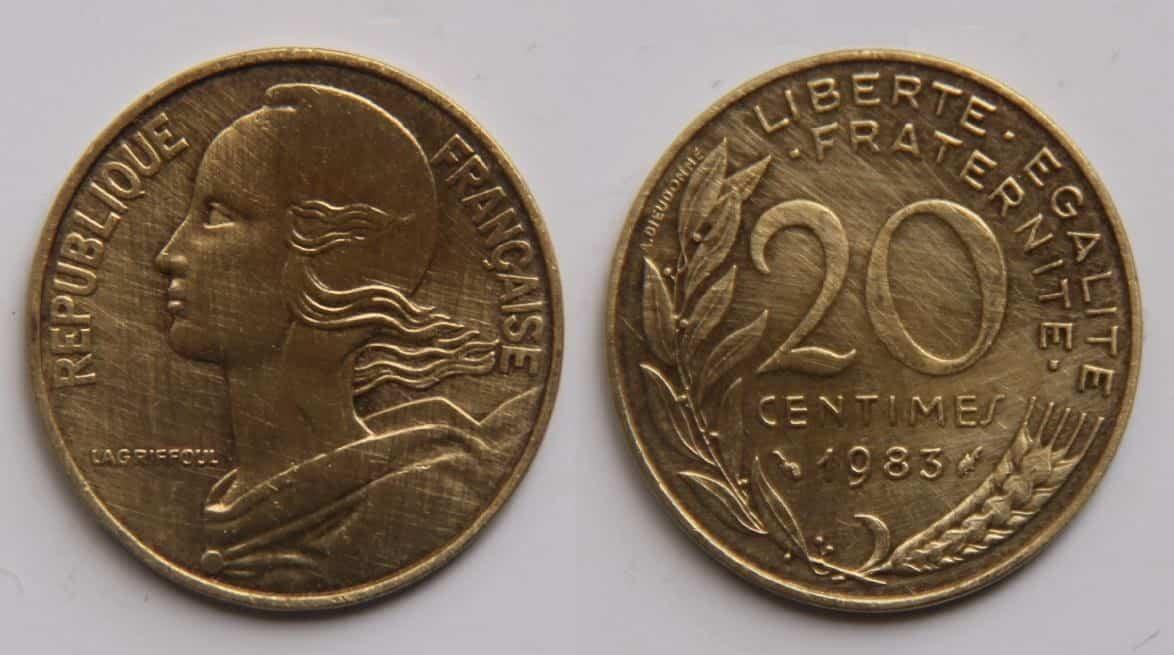 מטבע של 20 סנטימים משנת 1983. מקור צילום: ויקיפדיה.