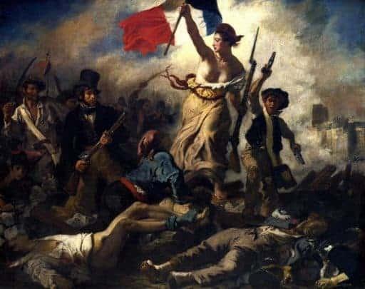 """מריאן במרכזה של תמונתו של דלקרואה """"החירות מובילה את העם"""". מקור תמונה: ויקיפדיה."""