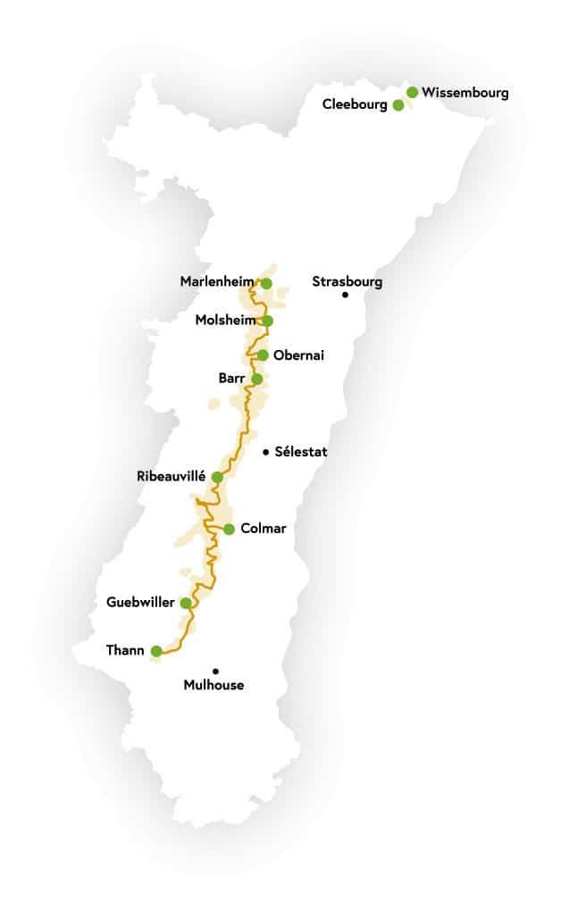 מפת דרך היין של אלזס באדיבות לשכת התיירות המקומית.