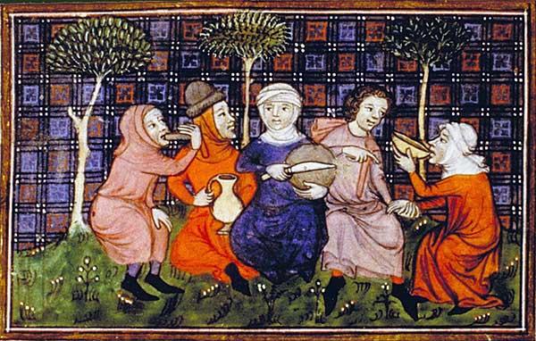 איכרים חולקים לחם. ציור מהמאה ה-14. מקור ציור: ויקיפדיה.