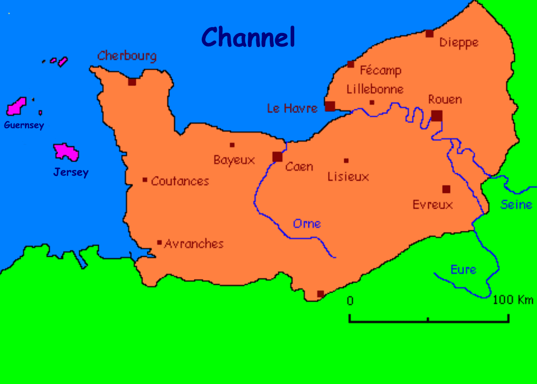 מפת מחוז נורמנדי. מקור תמונה ויקיפדיה.