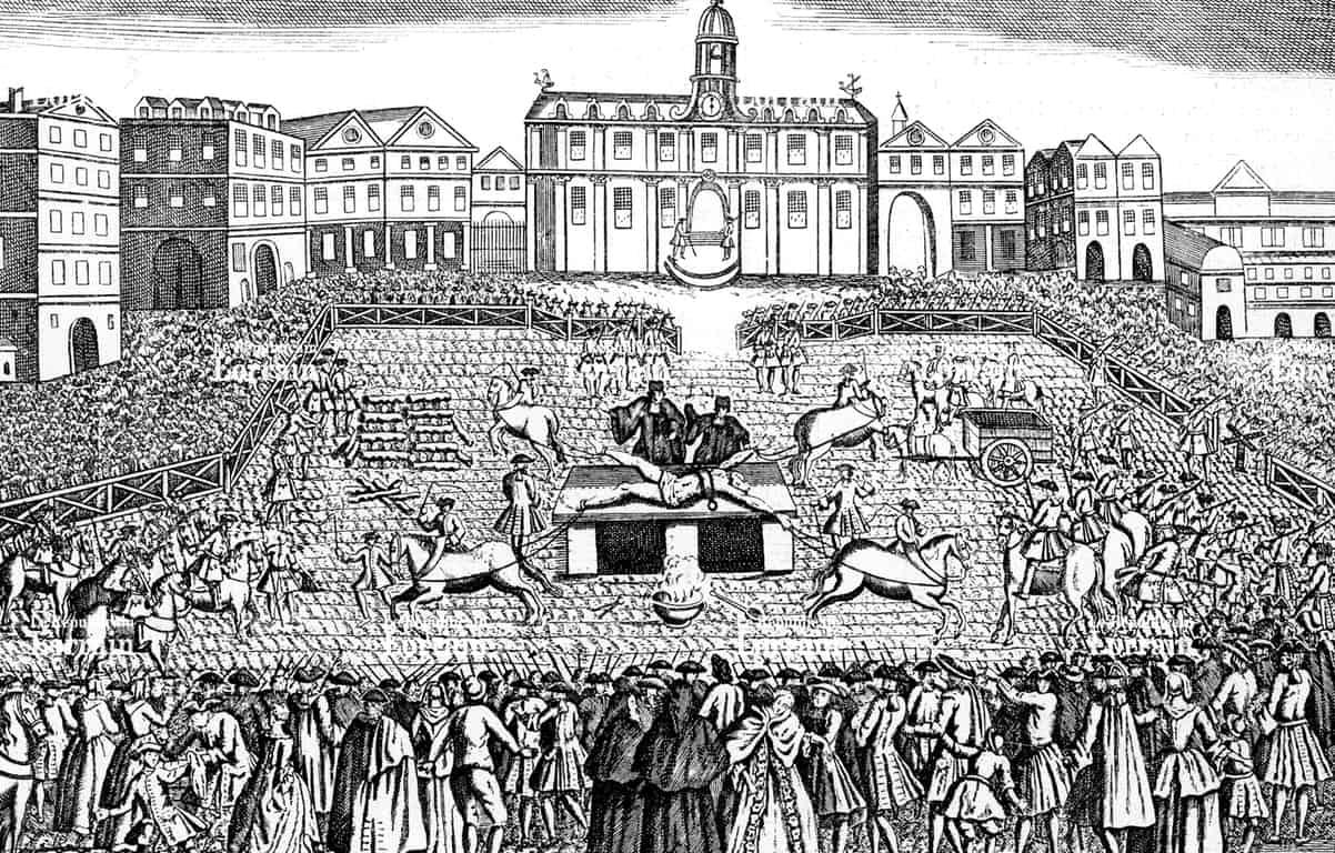 הוצאתו להורג של רובר פרנסואה דמיאן בכיכר גרב מול ההוטל דה ויל. מקור תמונה: ויקיפדיה.