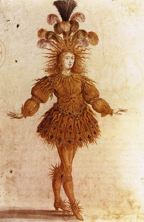 לואי ה-14 לבוש כאל השמש. ציור מתוך בלט הלילה. מקור ציור: ויקיפדיה.