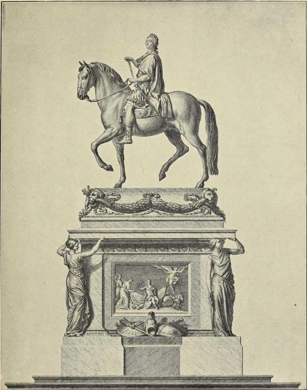 רישום של פסלו של לואי ה-15 אותו התחיל לפסל בושרדון וסיים ז'אן בטיסט פיגאל. מקור תמונה: ויקיפדיה.