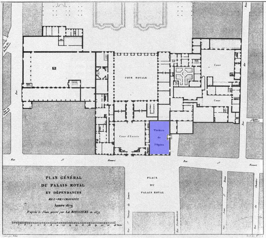 מיקומו של בניין האופרה בתוך המתחם של הפאלה רויאל. מפה משנת 1679. מקור מפה: ויקיפדיה.