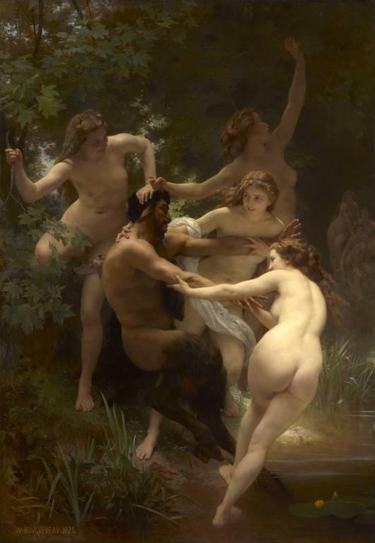 נימפות וסאטיר (1873). צייר: ויליאם אדולף בוגורו. מקור ציור: ויקיפדיה.