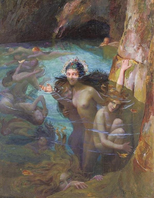 נימפות במערה (1924). צייר: Gaston Bussière. מקור תמונה, ויקיפדיה.