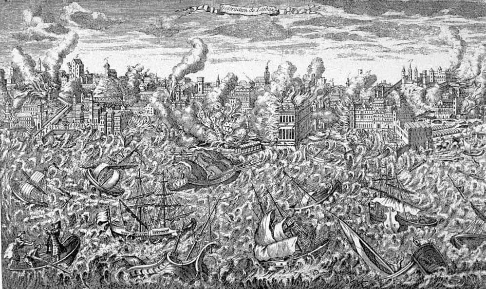 תחריט המתאר את רעידת האדמה בליסבון. מקור ציור: ויקיפדיה.