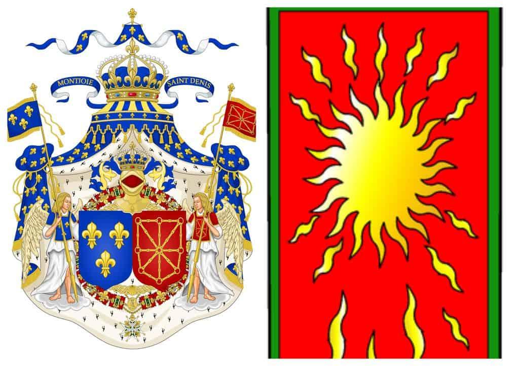 מימין תוכלו לראות את הנס של סן דני. משמאל תוכלו לראות את שלט האצולה של שושלת בית בורבון וליד הכתר את הססמא Montjoie Saint Denis. מקור תמונות: ויקיפדיה.