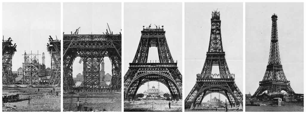 שלבי בניית מגדל אייפל. מקור צילום: וקיפדיה.