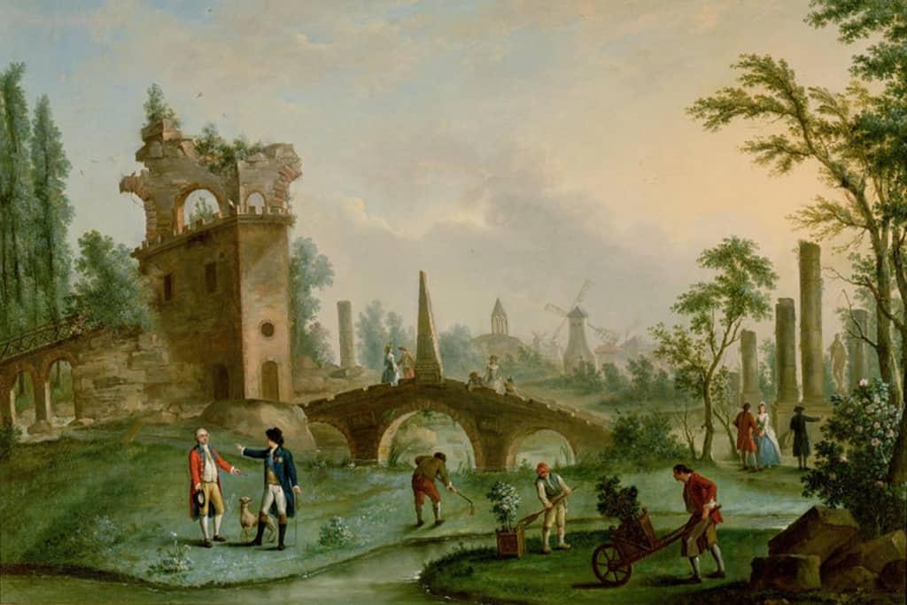 כך נראה פארק מונסו במאה ה-18. שימו לב לטחנות הרוח ולהריסות המלאכותיות. מקור ציור: ויקיפדיה.