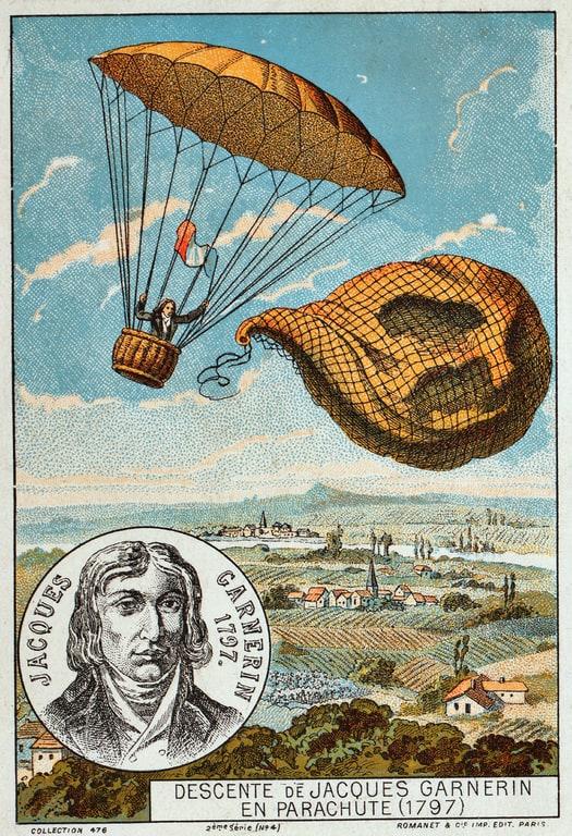 תמונה מהמאה ה-19 המתארת את ניסוי המצנח של גרנרן בשנת 1797. מקור תמונה: ויקיפדיה.
