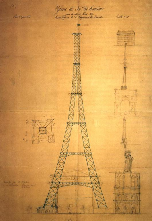 הסקיצה הראשונה של מגדל אייפל (ניתן לראות את הגובה שלו ביחס לנוטרדאם). צייר מוריס קשלן. מקור ציור: ויקיפדיה.