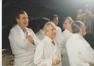 מארק מנו ראשון משמאל, ולפניו מישל גראר ואלן סנדרנס צילום אביטל ענבר