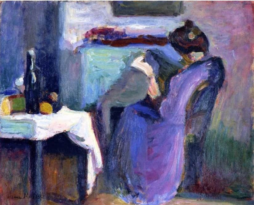 אישה קוראת בשמלה סגולה, מוזיאון סן דני, רנס, 1898