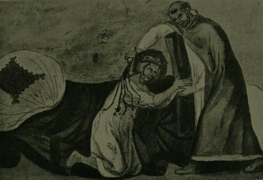 לואי ה-9 מאפשר לכומר להלקות אותו כחלק מתהליך של כפרת עוונות. מקור תמונה: ויקיפדיה.