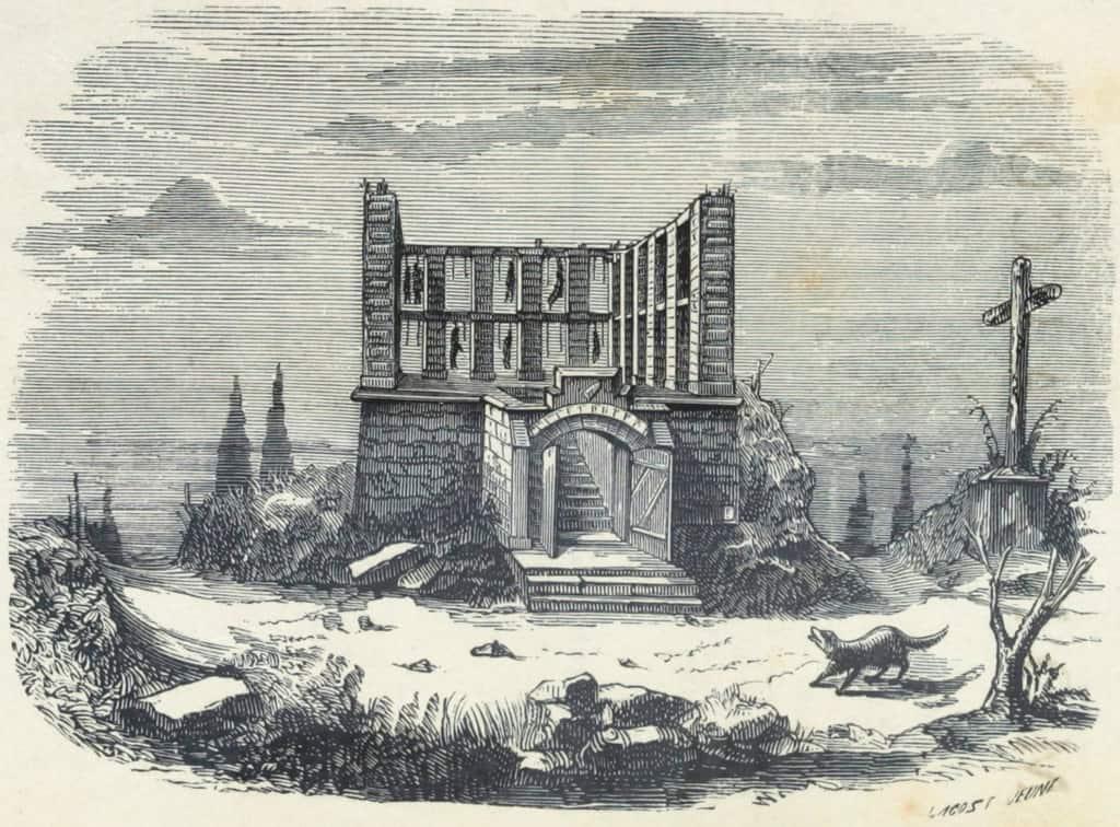 ציור מהמאה ה-19 של מתחם התלייה של מונפוקון. מקור תמונה: ויקיפדיה.