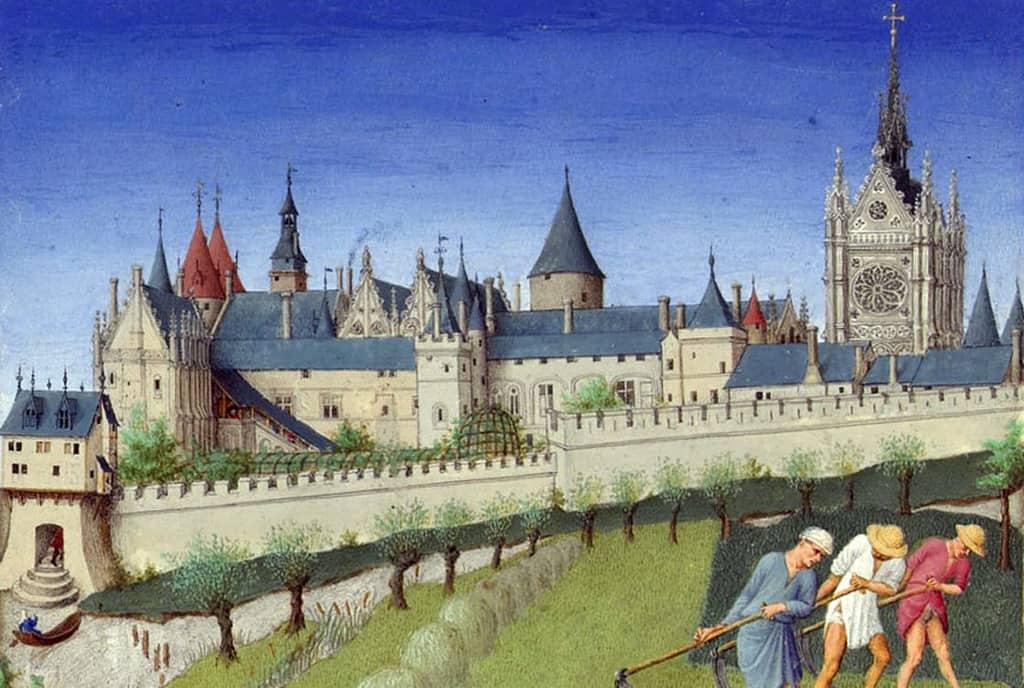 """ארמון דה לה סיטה בימי הביניים. מתוך """"ספר השעות"""" של הדוכס דה ברי. מקור תמונה: ויקיפדיה."""