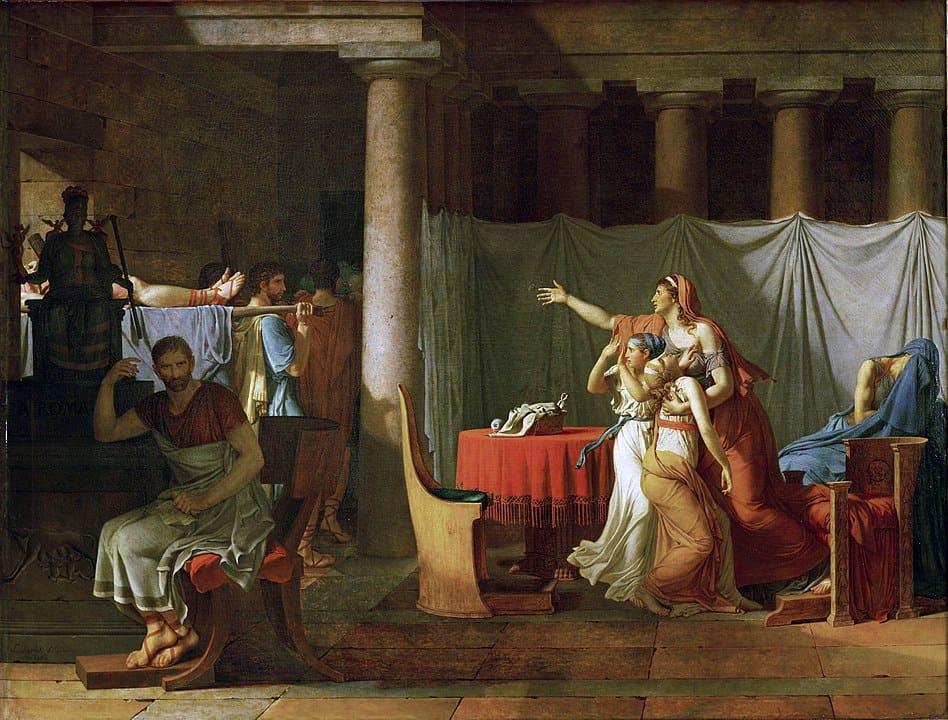 הליקטורים מביאים את גופות הבנים של ברוטוס מאת ז'אק לואי דוד (1789)