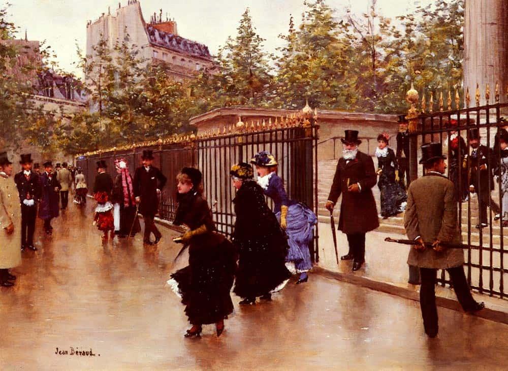 פריזאים יוצאים מכנסיית המדלן. ציור מאת ז'אן ברו (1849-1935 Jean Béraud)