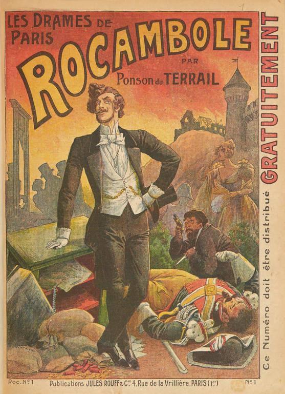 """רוקמבול מופיע על כריכת הספר """"הדרמות של פריז"""" שמהווה את הראשון בסדרה ארוכה של ספרים בכיכובו."""