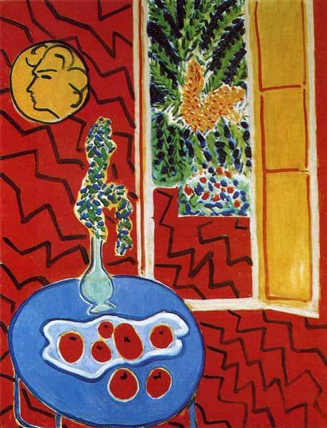חדר אדום, טבע דומם על שולחן כחול, אוסף האמנות של נורדריין-וסטפאליה, דיסלדורף, 1947
