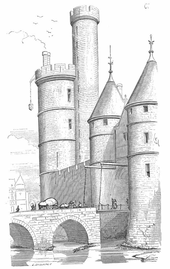 מגדל נל. רישום מהמאה ה-19 של ויולה לה דוק (Vilet Le Duc), ארכיטקט מפורסם, אשר התמחה בשחזור מבנים ימי ביניים, דוגמת הנוטרה דאם.