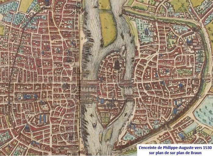 מפת פריז משנת 1530, אשר מראה את תוואי החומה של פיליפ אוגוסט. מוצגת באדיבות VVVCFFrance על פי הרישיון CC BY-SA 4.0