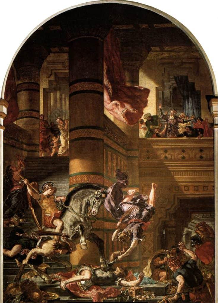הליאודורוס מסולק מבית המקדש מאת אז'ן דלקרואה.