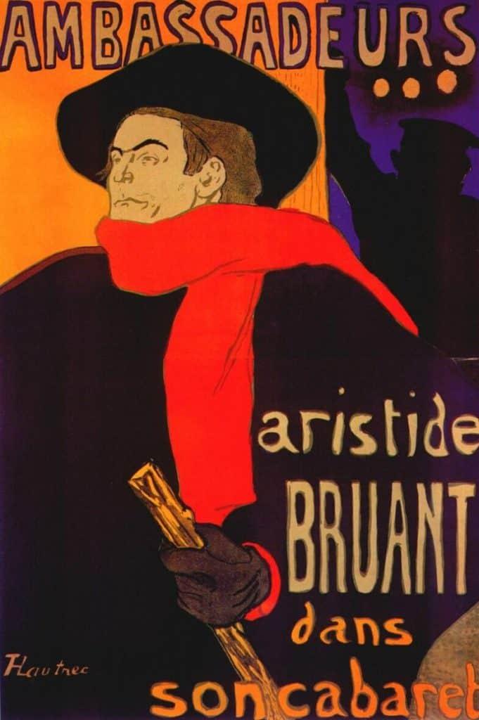 אריסטיד בריאן עם הכובע רחב השוליים והצעיף האדום האיקוני שלו בפוסטר המפורסם של טולוז לוטרק.