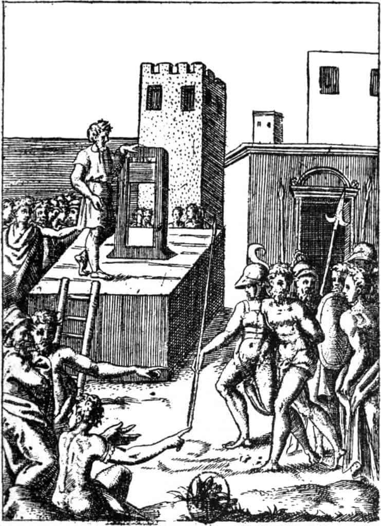 אחת ממכונות העריפה שקדמו לגיליוטינה (זאת שבתמונה היא מהמאה ה-16).