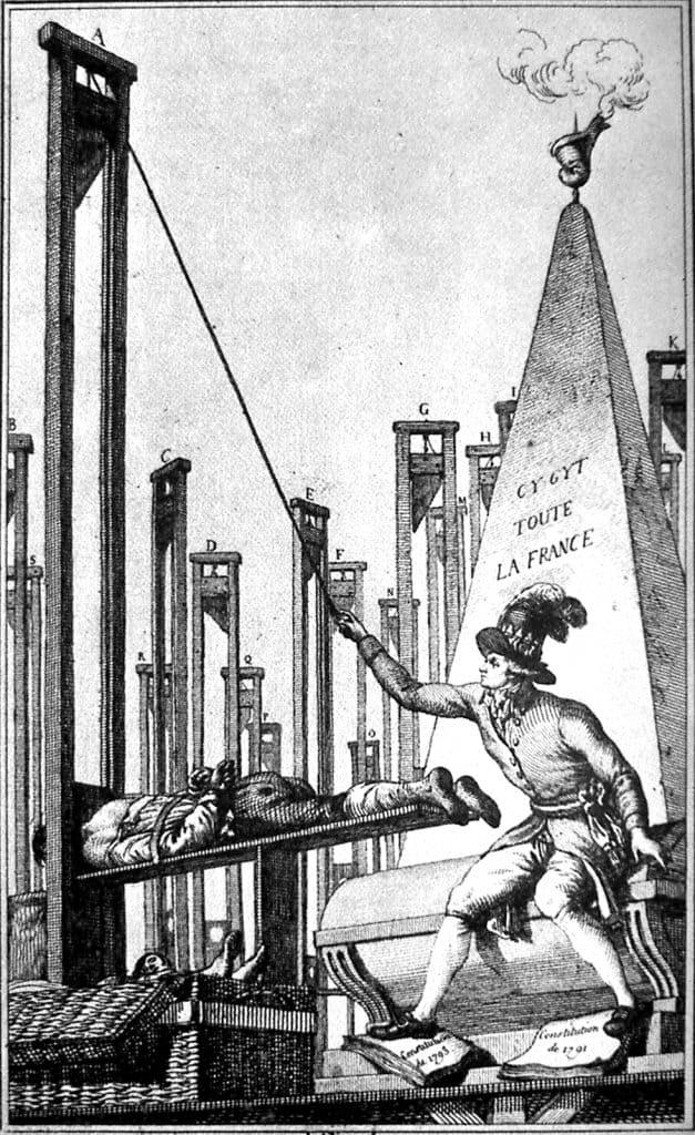 קריקטורה מימי המהפכה הצרפתית שבה נאמר שלאחר שרובספייר הוציא להורג את כולם לא נותר לו אלא להוציא להורג גם את התליין