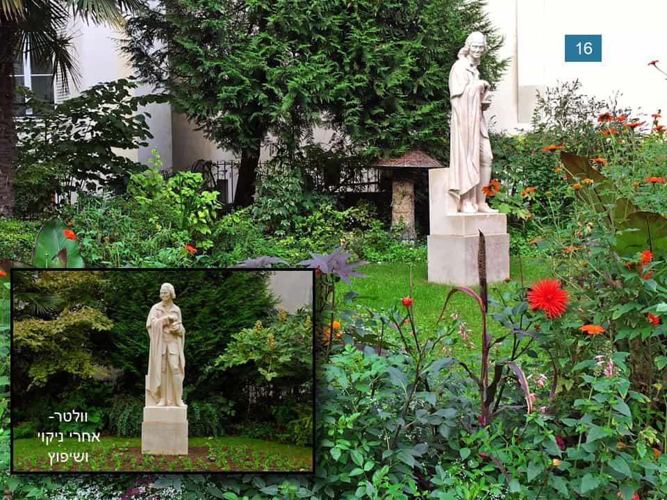 פסלו של וולטר בכיכר אונורה שמפיון. צילום: רותי שמעוני