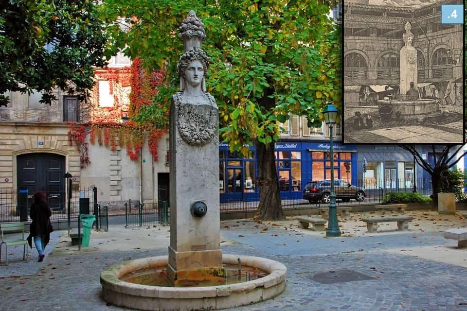 כך נראתה המזרקה בכיכר גבריאל פיארנה בעבר וכך היא נראית כיום. צילום: רותי שמעוני